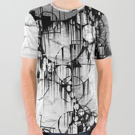 Glitch Black & White Circle abstract All Over Graphic Tee