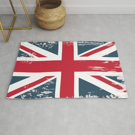 British vector flag in grunge vintage style Rug