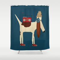 beagle Shower Curtains featuring bootleg beagle  by bri.buckley