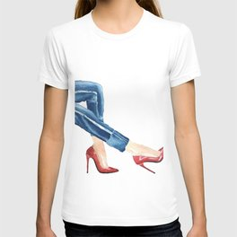 Red glamorous shoes watercolor sketch T-shirt