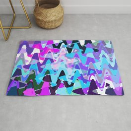 Electric waves, technological abstraction in rich colors, music waves in violet Rug