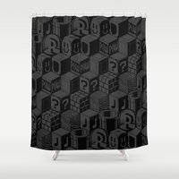 super mario Shower Curtains featuring SUPER MARIO BLOCK-OUT! by Jango Snow