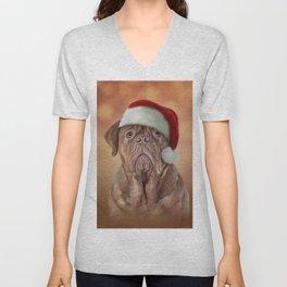 dog Dogue de Bordeaux in red hat of Santa Claus Unisex V-Neck