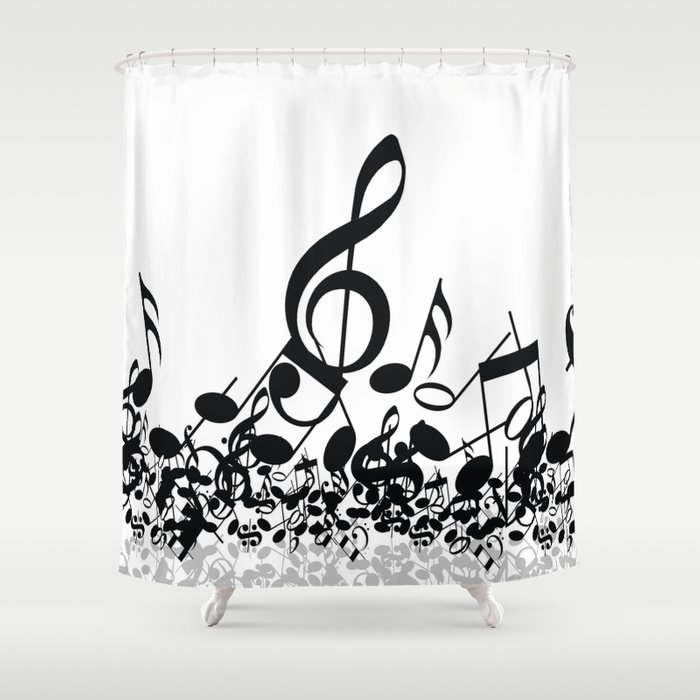 Music Notes BW 2 Shower Curtain By Gypsykisspotography