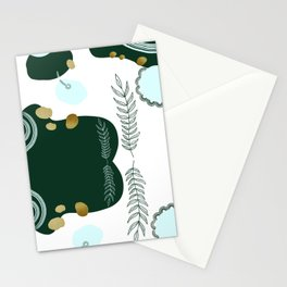 Pastel Pop in Forest Green with Metallic Gold Flecks Stationery Cards