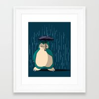 snorlax Framed Art Prints featuring My Neighbor Snorlax by EnoLa