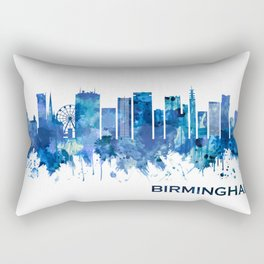 Birmingham England Skyline Blue Rectangular Pillow
