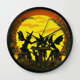 "Halloween witches floor mat ""Reading the tea leaves..."" Wall Clock"