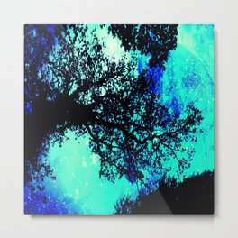 Black Trees Turquoise Teal Space Metal Print