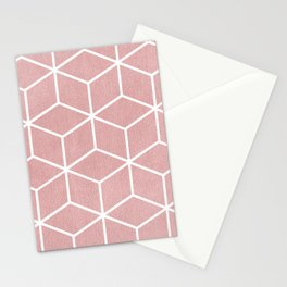 Blush Pink and White - Geometric Textured Cube Design Stationery Cards