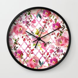 Pink coral violet watercolor floral quatrefoil pattern Wall Clock