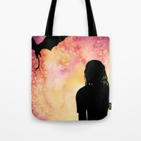 mother of dragons Tote Bags featuring Mother of Dragons Silhouette over Red + Yellow by Jessica Barst