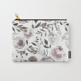 dusty rose floral watercolor Carry-All Pouch