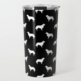 Golden Retriever dog silhouette black and white minimal basic dog lover pattern Travel Mug