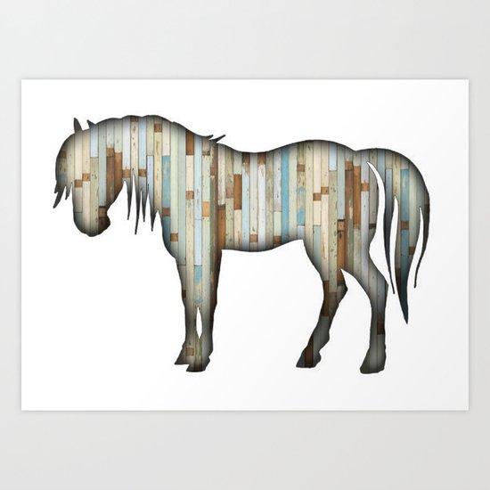 Wooden horse Art Print
