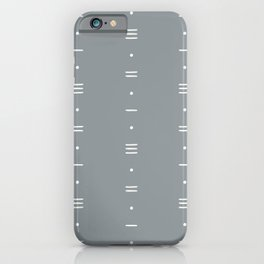 Dashes & Dots - Simple Dot & Line Pattern- Blue Gray iPhone Case