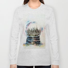 Snow globe - watercolour illustration Long Sleeve T-shirt