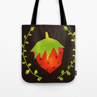 strawberry Tote Bags featuring Strawberry by Strawberringo