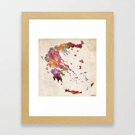 Greece map Framed Art Print