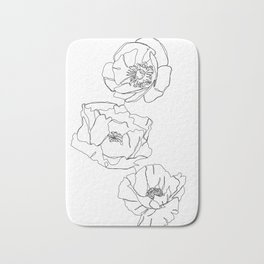 Botanical illustration line drawing - Poppies Bath Mat