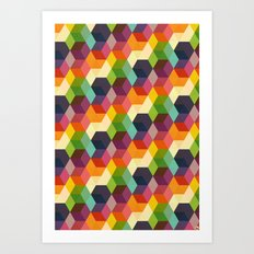 Retro Hexagonzo Art Print