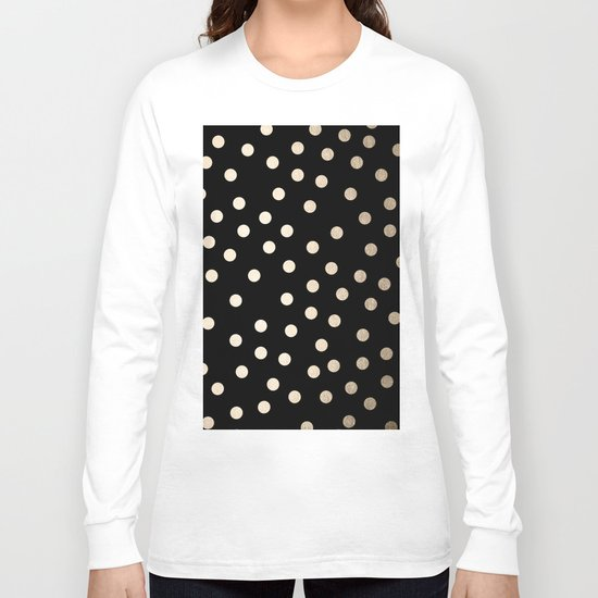 Simply Dots White Gold Sands on Midnight Black Long Sleeve T-shirt