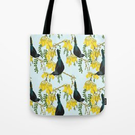 Tuis in the Kowhai Flowers Tote Bag