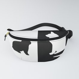 White Cat with black Rabbit Fanny Pack