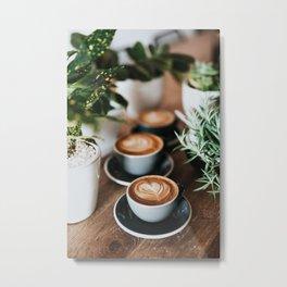 Latte + Plants Metal Print
