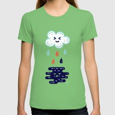 Here Comes The Rain Grass LARGE Womens Fitted Tee