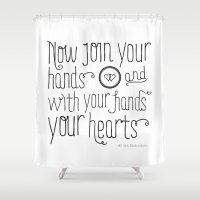 wedding Shower Curtains featuring Wedding by Liv Strawbridge
