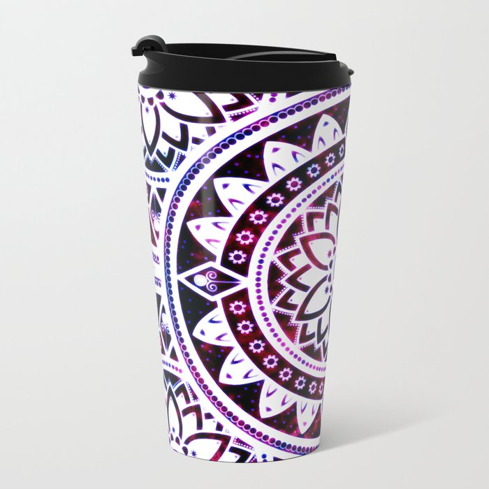 Glowing Flower Mandala Red White Pink Blue Metal Travel Mug