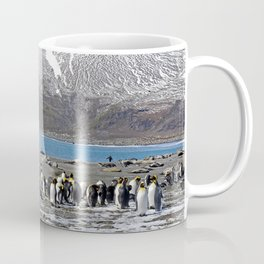 Snowy mountain with King Penguins in the Foreground Coffee Mug
