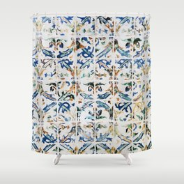 Blue Mosaic Painting Shower Curtain