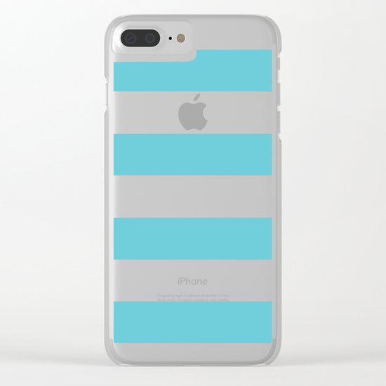 Simply Stripes in Seaside Blue Clear iPhone Case