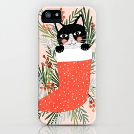 Cat on a sock. Holiday. Christmas iPhone Case