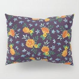 Dark Floral: Marigolds and Borage Pillow Sham