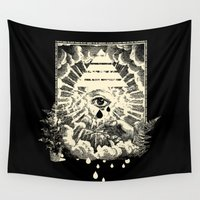 all seeing eye Wall Tapestries featuring Us Lights All Seeing Eye by Showdeer