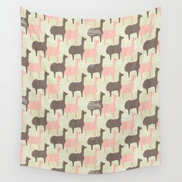Brown and Pink Kids Llama Silhouette Seamless Wall Tapestry
