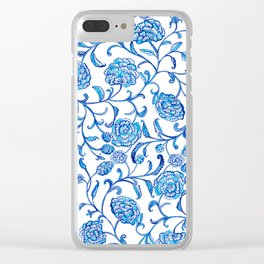 Blue Flowers on White by Fanitsa Petrou Clear iPhone Case