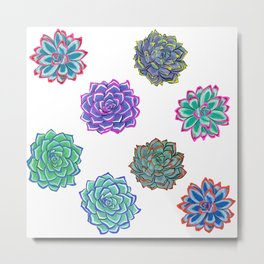 Bright and Colourful Succulent Print Metal Print