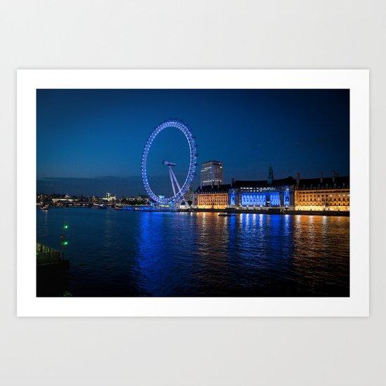 London Eye at night Art Print