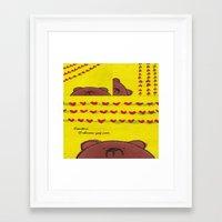 coasters Framed Art Prints featuring Grumpy Bear - Coasters by Shereen Yap
