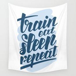 Sport Train eat sleep repeat Wall Tapestry