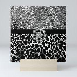 Animal Print Leopard Glam Silver and Black Diamond Mini Art Print