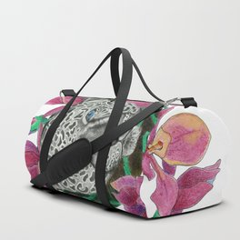 Snow panther hidden in magnolias Duffle Bag