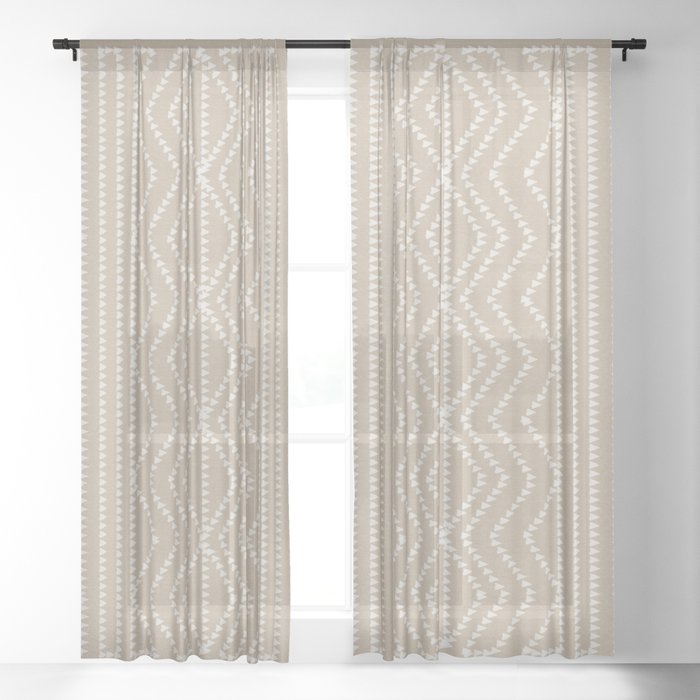 Cream Linen Beige Arrows Pattern Sheer Curtain