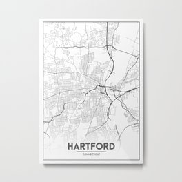 Minimal City Maps - Map Of Hartford, Connecticut, United States Metal Print