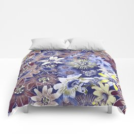 Passion Flower Blue Comforters