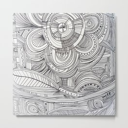 Hand drawn black white pencil zentangle floral Metal Print